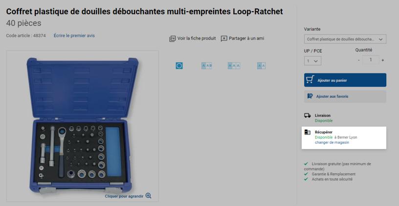 La disponibilité du produit en magasin est affichée sur le site